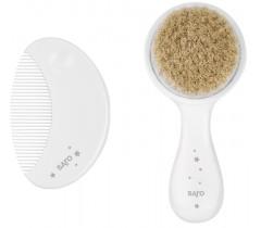 Saro - Escova de cerdas naturais e pente para o bebé Branco