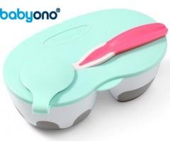 Baby Ono - Tigela de duas câmaras com colher rosa