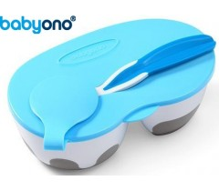 Baby Ono - Tigela de duas câmaras com colher azul