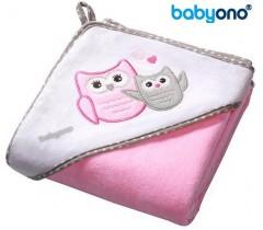 Baby Ono - Toalha de veludo com capuz 76x76 Rosa