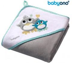Baby Ono - Toalha de veludo com capuz 76x76 Cinza
