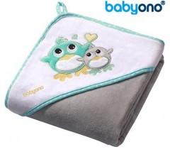 Baby Ono - Toalha de veludo com capuz 100x100 Cinza