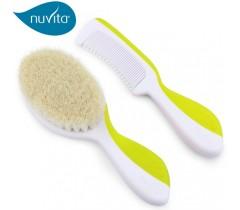 Nuvita - Escova com cerdas de lã natural e pente