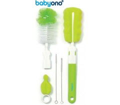 Baby Ono - Conjunto de escova para biberões e tetinas com pega removível e mini esponja verde