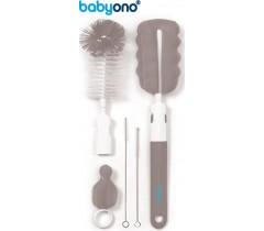 Baby Ono - Conjunto de escova para biberões e tetinas com pega removível e mini esponja cinza
