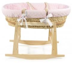 PASITO A PASITO - Berço completo com cobertura textil Maria natural/rosa