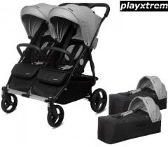 PLAYXTREM - BABY TWIN + 2 Alcofas Silver