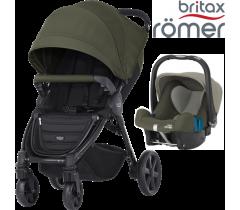 Duo Britax B-Agile 4 Plus + Römer Baby Safe SHR II Olive Green