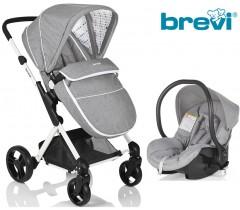 Brevi - Duo carrinho c/ grupo 0+ Grey Melange Presto City
