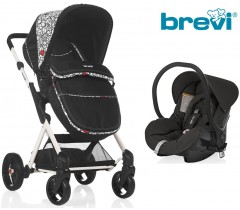 Brevi - Duo carrinho c/ grupo 0+ Black Red Spot Presto City