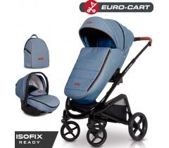 EURO-CART - Carrinho multifuncional EXPRESS + Grupo 0+ ISOFIX READY Denim