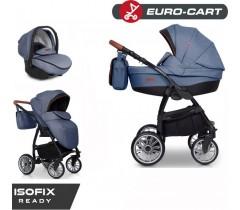 EURO-CART - Carrinho multifuncional PASSO PRO + Grupo 0+ ISOFIX READY Denim