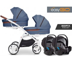EASYGO - 2 OF US (2 assentos + 2 alcofas) + STARTER 0+ ISOFIX READY Denim