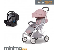 EASYGO - Carrinho multifuncional MINIMA PLUS + STARTER 0+ ISOFIX READY Powder Pink