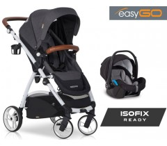 EASYGO - Carrinho multifuncional OPTIMO + STARTER 0+ ISOFIX READY Anthracite