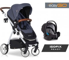 EASYGO - Carrinho multifuncional OPTIMO + STARTER 0+ ISOFIX READY Denim