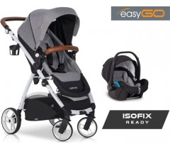 EASYGO - Carrinho multifuncional OPTIMO + STARTER 0+ ISOFIX READY Grey Fox