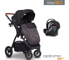 EASYGO - Carrinho multifuncional OPTIMO AIR + STARTER 0+ ISOFIX READY Anthracite