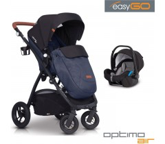 EASYGO - Carrinho multifuncional OPTIMO AIR + STARTER 0+ ISOFIX READY Denim