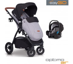 EASYGO - Carrinho multifuncional OPTIMO AIR + STARTER 0+ ISOFIX READY Grey Fox