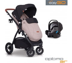 EASYGO - Carrinho multifuncional OPTIMO AIR + STARTER 0+ ISOFIX READY Sand