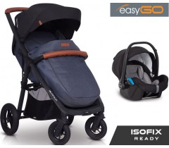 EASYGO - Carrinho multifuncional QUANTUM AIR + STARTER 0+ ISOFIX READY Denim