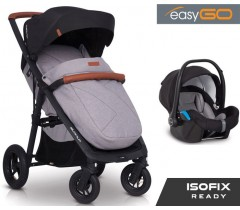 EASYGO - Carrinho multifuncional QUANTUM AIR + STARTER 0+ ISOFIX READY Grey Fox