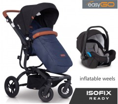 EASYGO - Carrinho multifuncional SOUL AIR + STARTER 0+ ISOFIX READY Denim