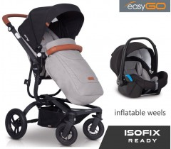 EASYGO - Carrinho multifuncional SOUL AIR + STARTER 0+ ISOFIX READY Grey Fox