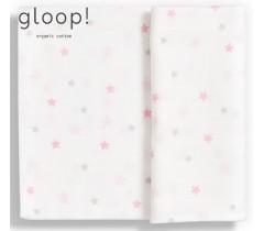 GLOOP - Fralda gloop! 110x110cm Estrelas Rosa