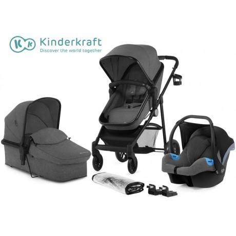 Kinderkraft - Carrinho de bebé 3 in 1 JULI grey