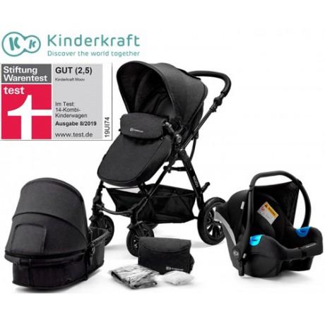Kinderkraft - Carrinho de bebé 3 in 1 MOOV Black
