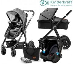 Kinderkraft - Carrinho de bebé 3 in 1 VEO black/grey