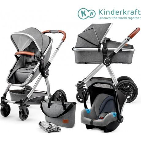 Kinderkraft - Carrinho de bebé 3 in 1 VEO grey