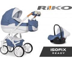 RIKO - Carrinho multifuncional BRANO LUXE + CARLO ISOFIX READY Denim