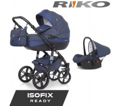 RIKO - Carrinho multifuncional BRANO NATURAL + CARLO ISOFIX READY Denim