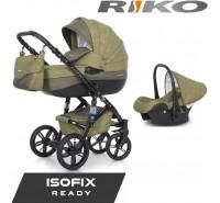 RIKO - Carrinho multifuncional BRANO NATURAL + CARLO ISOFIX READY Olive