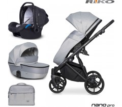 RIKO - Carrinho multifuncional NANO PRO + KITE ISOFIX READY Grey Fox