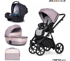 RIKO - Carrinho multifuncional NANO PRO + KITE ISOFIX READY Pearl Pink