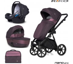 RIKO - Carrinho multifuncional NANO PRO + KITE ISOFIX READY Plum