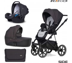 RIKO - Carrinho multifuncional SIDE (KOLORY 01-05) + KITE ISOFIX READY Anthracite