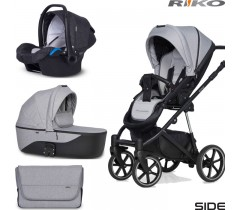 RIKO - Carrinho multifuncional SIDE (KOLORY 01-05) + KITE ISOFIX READY Grey Fox