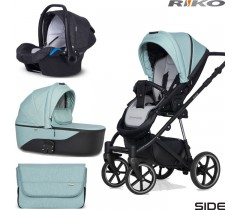 RIKO - Carrinho multifuncional SIDE (KOLORY 01-05) + KITE ISOFIX READY Mint