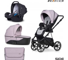RIKO - Carrinho multifuncional SIDE (KOLORY 01-05) + KITE ISOFIX READY Rose