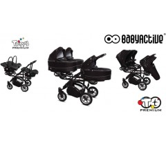 BabyActive - Carrinho trigémeos 3 in 1 Trio Trippy Premium Black Magic