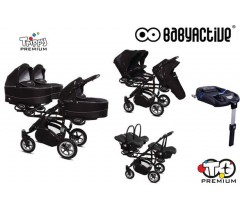 BabyActive - Carrinho trigémeos 4 in 1 Trippy Premium Black Magic