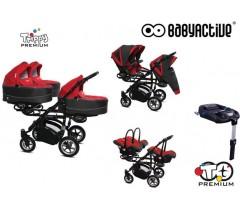 BabyActive - Carrinho trigémeos 4 in 1 Trippy Premium Red