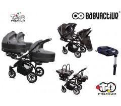 BabyActive - Carrinho trigémeos 4 in 1 Trippy Premium Silver