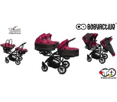 BabyActive - Carrinho trigémeos 3 in 1 Trippy Premium Amarant