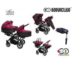BabyActive - Carrinho trigémeos 4 in 1 Trippy Premium Amarant